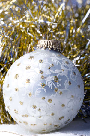 Decoration Christmas New Year silver ornament ball extreme close up