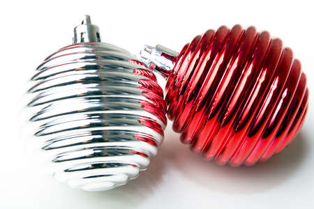 Christmas New Year decoration ornament red and silver shiny balls closeup