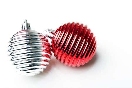 Christmas New Year decoration ornament red and silver shiny balls Zdjęcie Seryjne