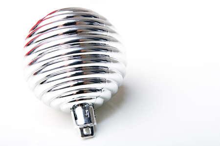 Christmas New Year decoration ornament silver shiny ball Zdjęcie Seryjne