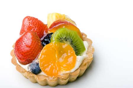Strawberry, kiwi, tangerine, pineapple delicious dessert fruit tart pastry with whipped cream layer  Zdjęcie Seryjne