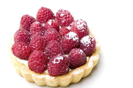 Delicious fresh raspberry fruit tart pastry isolated