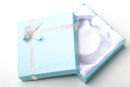 Beautiful elegant glossy blue empty jewelry gift box with open top lid