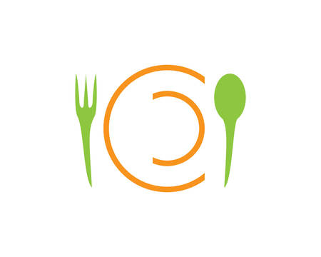 Spoon and fork logo template vector icon Stock Illustratie
