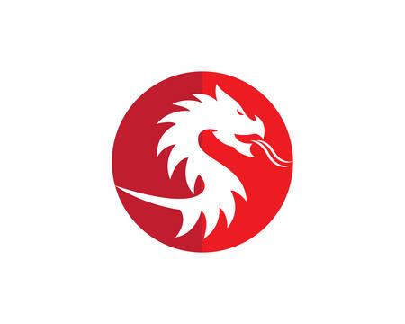 Testa di drago di colore piatto logo modello illustrazione vettoriale