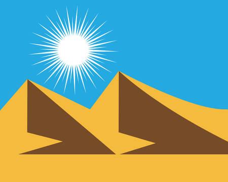 Illustration d'icône de vecteur de montagne avec ciel bleu et nuage