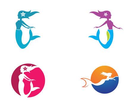 Mermaid template icon illustration