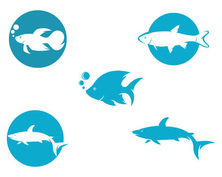 Fish logo template vector icon illustration design