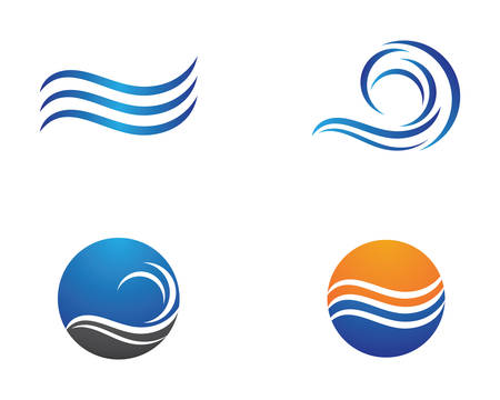 Water wave logo vector icon illustration design Ilustração