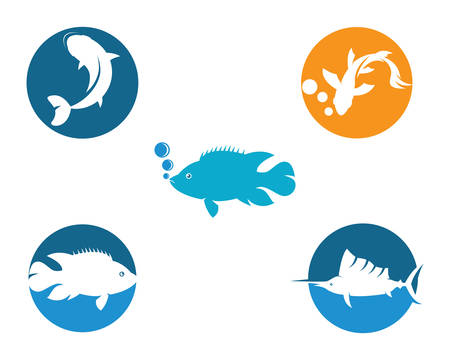 Fish logo template vector icon illustration design