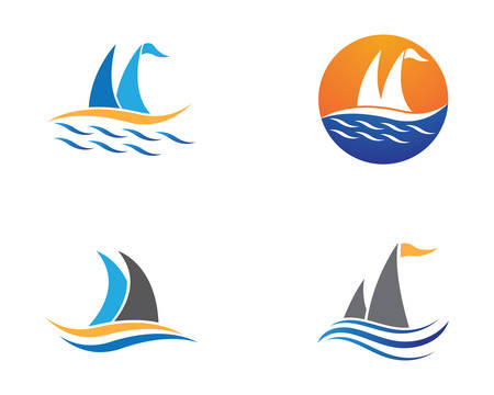 Cruise ship logo template vector icon illustration design Ilustração
