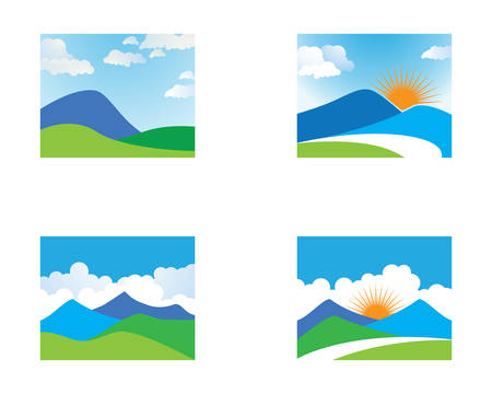 Mountain vector icon illustration with blue sky and cloud