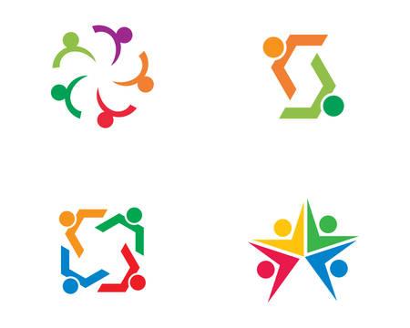 Adopción y cuidado comunitario logo plantilla vector icono diseño ilustración Logos
