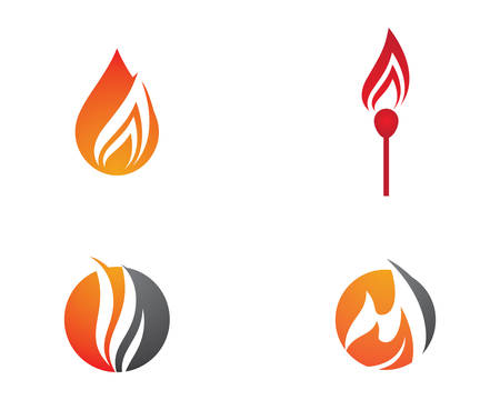 Fire flame logo template vector icon illustration design