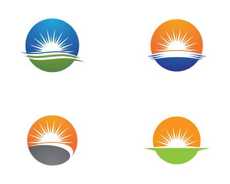 Vector Icon Logo Template Sun over horizon Illustration