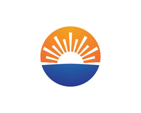 Vector Icon Logo Template Sun over horizon Ilustrace