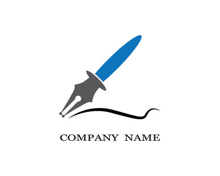 Vector logo design element on white background. Feather writing