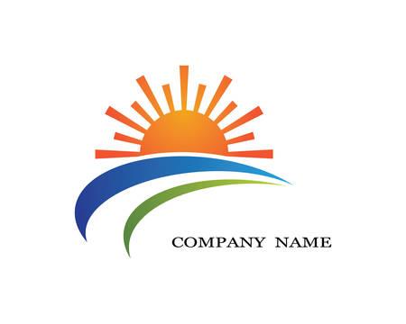 Vector Icon Logo Template Sun over horizon Ilustração