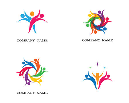 Adoption and community care logo template vector icon illustration design