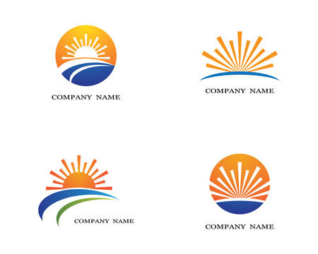 Vector Icon Logo Template Sun over horizon 矢量图像