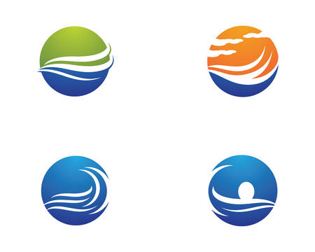 Water wave logo vector icon illustration design 矢量图像