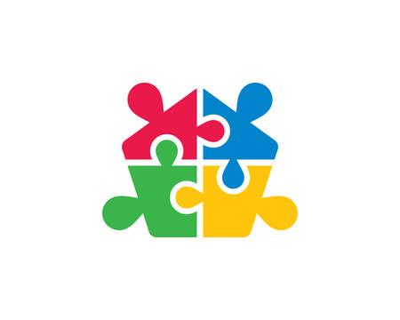 Puzzle logo template vector icon illustration design Logo