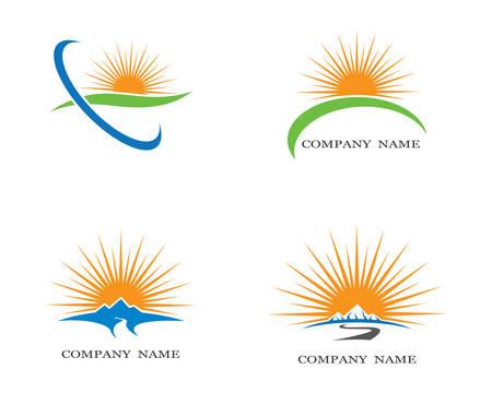 Sonnenlogoschablonenvektorikonenillustrationsentwurf Logo
