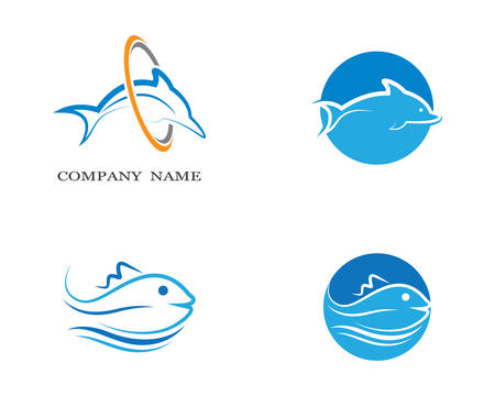 Dolphin logo template vector icon illustration design