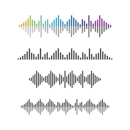 Illustrazione dell'icona di vettore del modello di logo dell'onda sonora