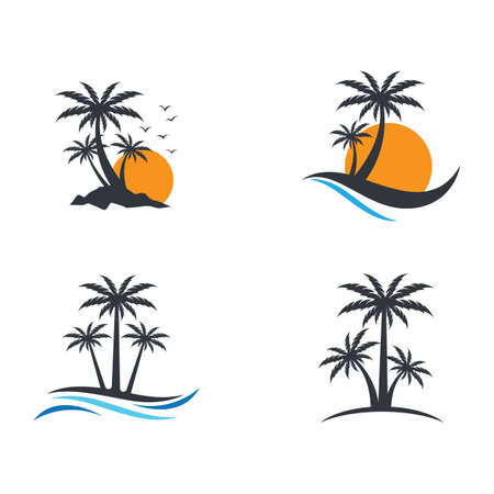 Palm tree summer vector icon illustration