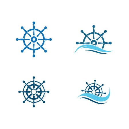 Steering ship logo vector icon illustration design