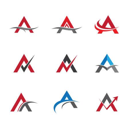 Letter a logo set illustration design Logo