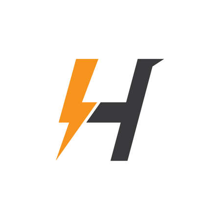 H letter lightning bolt icon logo creative vectorillustration
