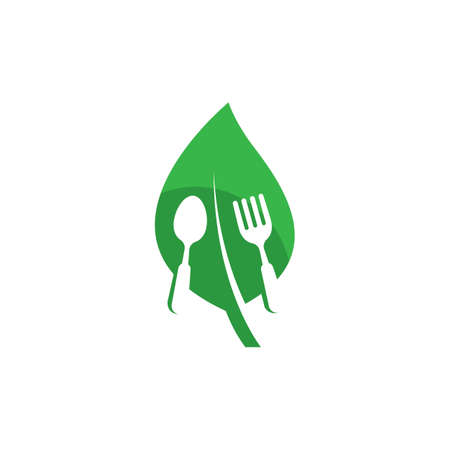 Vegetarian food logo template vector icon