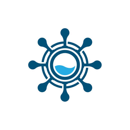 Steering ship vector icon illustration design