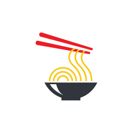 Hot noodle logo vector icon design 일러스트