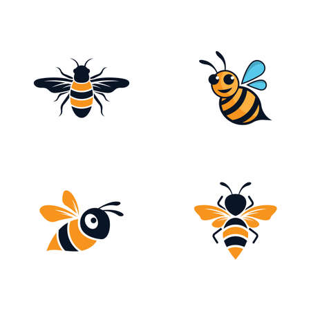 Bee logo vector icon illustration design