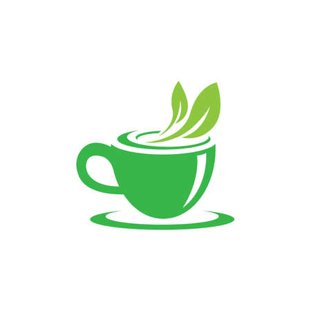 Tea cup logo template vector icon illustration design