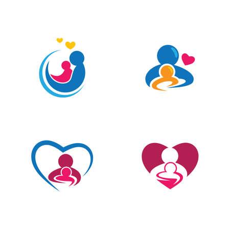 Mom and baby logo vector icon illustration design