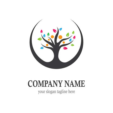 Family tree logo vector icon illustration design