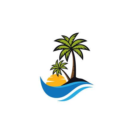 Sunset beach logo vector icon illustration design