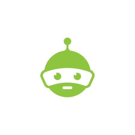 Robot green logo vector icon illustration design