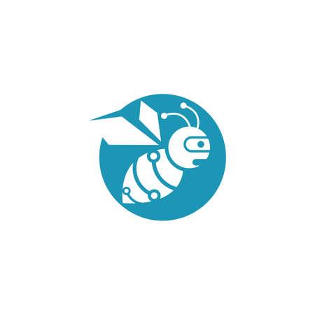 Bee robot logo vector icon illustration design