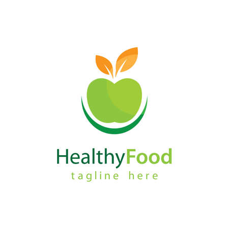 Healthy food logo vector design 版權商用圖片 - 158584871