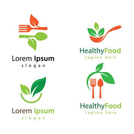 Healthy food logo vector design 向量圖像