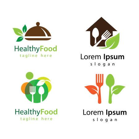 Healthy food logo vector design 版權商用圖片 - 158478402