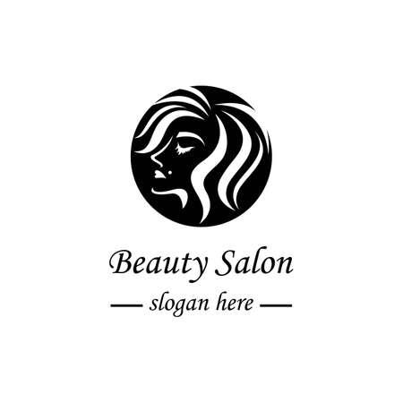 Beauty hair and salon logo vector icon design