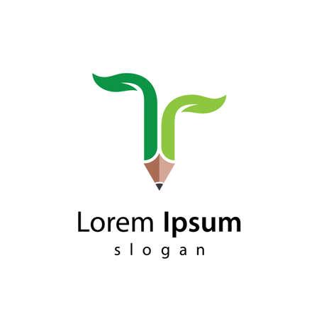 Eco pencil logo images illustration design