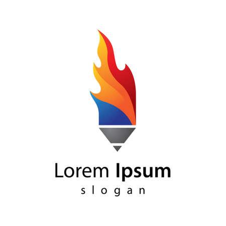 Hot pencil logo images illustration design 向量圖像