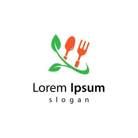 Vegetarian food logo images illustration design 向量圖像